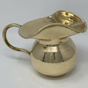 "Brass Pitcher Flower Vase Shiny Glam Home Decor 6"""
